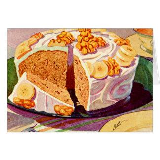Retro Vintage Kitsch Food Banana Walnut Cake Art Card
