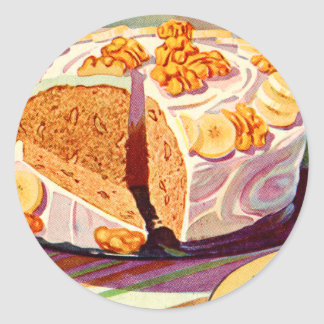 Retro Vintage Kitsch Food Banana Walnut Cake Art Classic Round Sticker