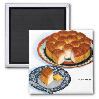Retro Vintage Kitsch Food Bread Plain Rolls Art Magnet