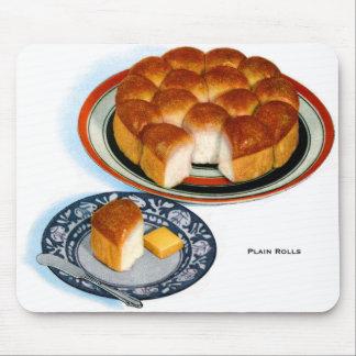 Retro Vintage Kitsch Food Bread Plain Rolls Art Mousepad