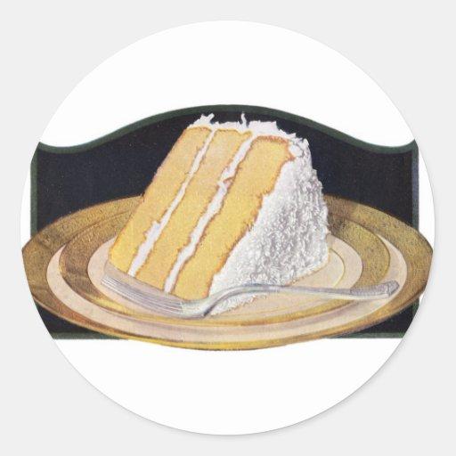 Retro Vintage Kitsch Food Coconut Cream Pie Classic Round Sticker