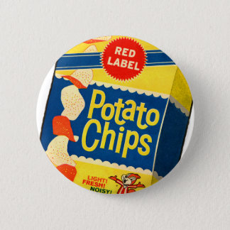 Retro Vintage Kitsch Food Crisps Potato Chips Bag Button