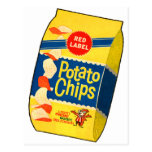 Retro Vintage Kitsch Food Crisps Potato Chips Bag Postcard