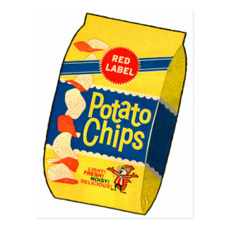 Retro Vintage Kitsch Food Crisps Potato Chips Bag Postcard