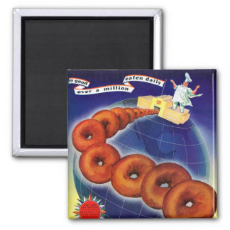 Retro Vintage Kitsch Food Doughnuts Donuts Ad 2 Inch Square Magnet