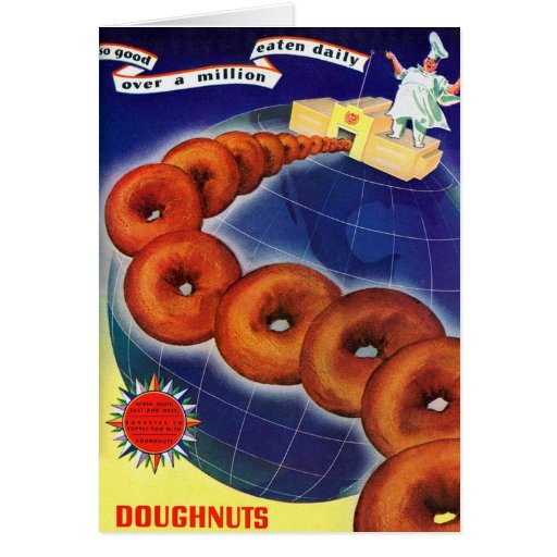 Retro Vintage Kitsch Food Doughnuts Donuts Ad Card