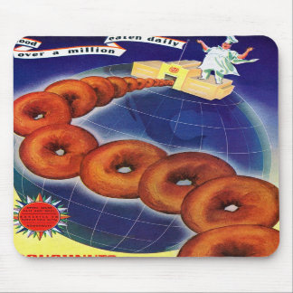 Retro Vintage Kitsch Food Doughnuts Donuts Ad Mousepads
