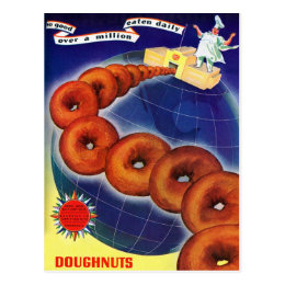 Retro Vintage Kitsch Food Doughnuts Donuts Ad Postcard