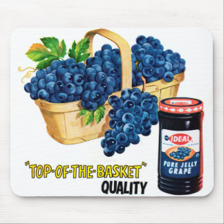 Retro Vintage Kitsch Food Grape Jelly & Grapes Ad Mousepads