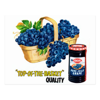 Retro Vintage Kitsch Food Grape Jelly & Grapes Ad Postcard