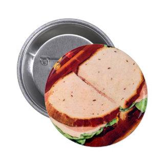 Retro Vintage Kitsch Food Ham on Rye Sandwich Pins