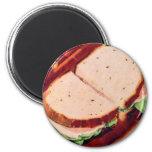 Retro Vintage Kitsch Food Ham on Rye Sandwich Magnet