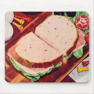 Retro Vintage Kitsch Food Ham on Rye Sandwich Mouse Pads