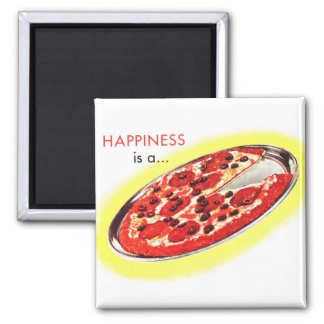 Retro Vintage Kitsch Food Happiness is a Pizza Refrigerator Magnet