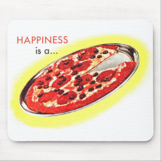 Retro Vintage Kitsch Food Happiness is a Pizza Mousepads