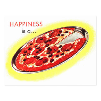Retro Vintage Kitsch Food Happiness is a Pizza Postcard