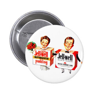 Retro Vintage Kitsch Food Jell-Well Gelatin Boxes Buttons