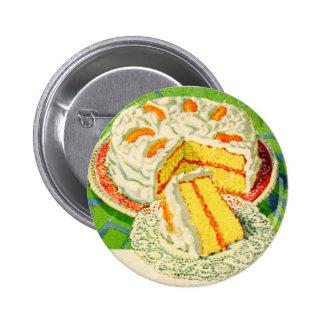 Retro Vintage Kitsch Food Orange Creme Cake Art 2 Inch Round Button
