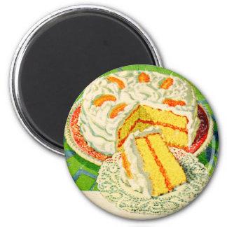 Retro Vintage Kitsch Food Orange Creme Cake Art 2 Inch Round Magnet