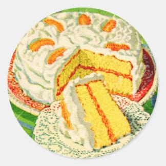Retro Vintage Kitsch Food Orange Creme Cake Art Classic Round Sticker