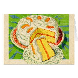 Retro Vintage Kitsch Food Orange Creme Cake Art Greeting Card