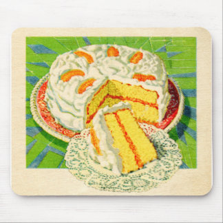 Retro Vintage Kitsch Food Orange Creme Cake Art Mouse Pad