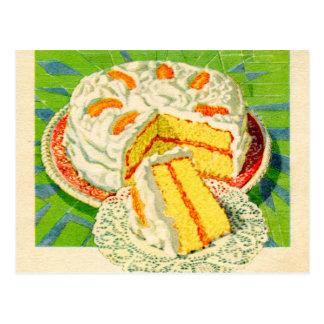 Retro Vintage Kitsch Food Orange Creme Cake Art Postcard
