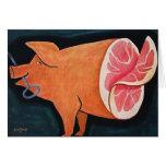 Retro Vintage Kitsch Food Pork Pig 'Sliced Ham' Greeting Card