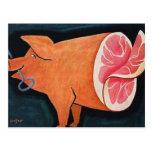 Retro Vintage Kitsch Food Pork Pig 'Sliced Ham' Postcard