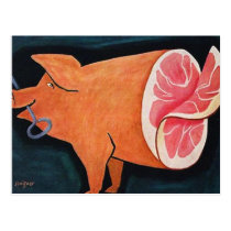Retro Vintage Kitsch Food Pork Pig 'Sliced Ham' Postcard