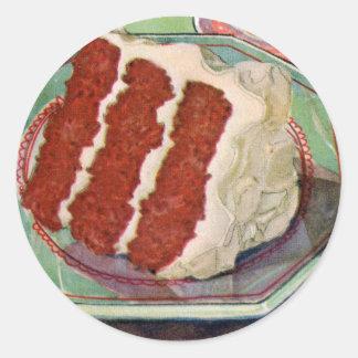 Retro Vintage Kitsch Food Red Velvet Cake Art Classic Round Sticker