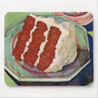 Retro Vintage Kitsch Food Red Velvet Cake Art Mouse Pad