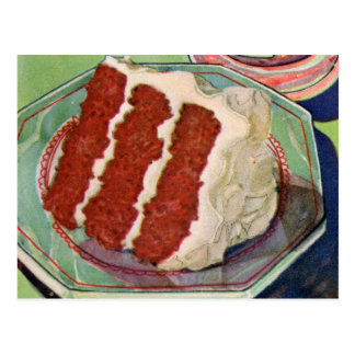 Retro Vintage Kitsch Food Red Velvet Cake Art Postcard