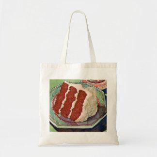 Retro Vintage Kitsch Food Red Velvet Cake Art Tote Bag