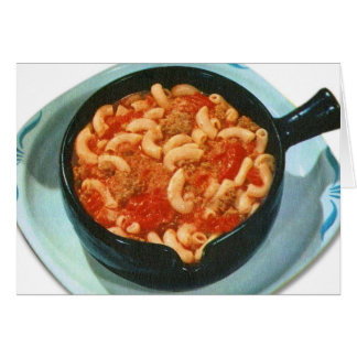 Retro Vintage Kitsch Food Spaghetti Hot Dish Card