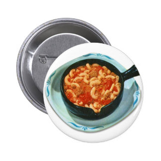 Retro Vintage Kitsch Food Spaghetti Hot Dish Pinback Button