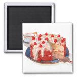 Retro Vintage Kitsch Food Strawberry Shortcake 2 Inch Square Magnet