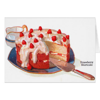 Retro Vintage Kitsch Food Strawberry Shortcake Card