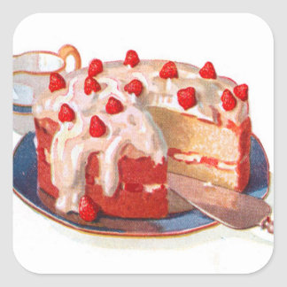 Retro Vintage Kitsch Food Strawberry Shortcake Square Sticker