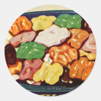 Retro Vintage Kitsch Food Sugared Walnuts Cookbook Classic Round Sticker