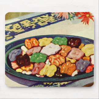 Retro Vintage Kitsch Food Sugared Walnuts Cookbook Mouse Pad