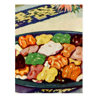 Retro Vintage Kitsch Food Sugared Walnuts Cookbook Postcards