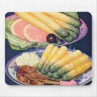 Retro Vintage Kitsch Food White Asparagus Spears Mousepads