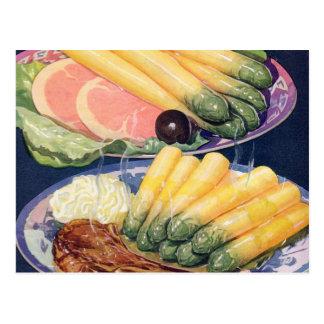 Retro Vintage Kitsch Food White Asparagus Spears Postcard
