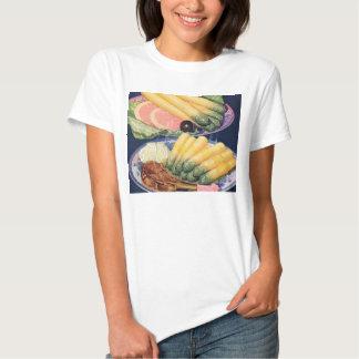 Retro Vintage Kitsch Food White Asparagus Spears T Shirt