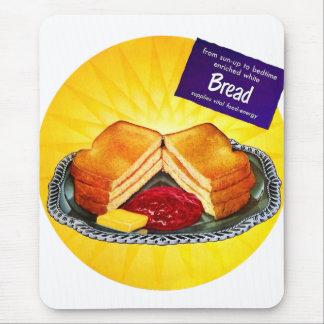 Retro Vintage Kitsch Food White Bread Toast & Jam Mouse Pad