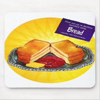Retro Vintage Kitsch Food White Bread Toast & Jam Mousepad