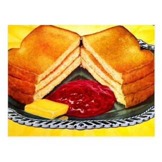 Retro Vintage Kitsch Food White Bread Toast & Jam Postcard