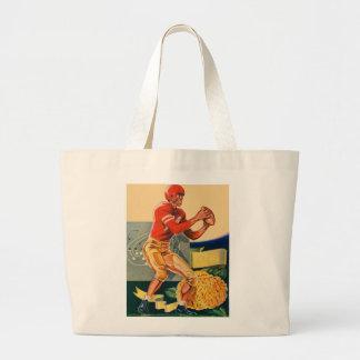 "Retro Vintage Kitsch Football 'Football Jones"" Large Tote Bag"