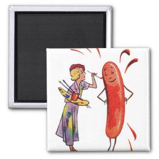 Retro Vintage Kitsch Frankfurter Hot Dog Artist 2 Inch Square Magnet